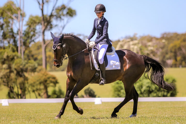 Annabel Cusack and Dynamoey rode into 3rd place in the Gow Gates International 3DE CCI-1*L Jr. at Wallaby Hills (Image by Rodney's Photography).